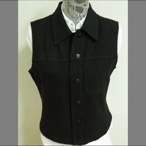 Sz L Black GAP WOMENS Wool #51H Suit Vest